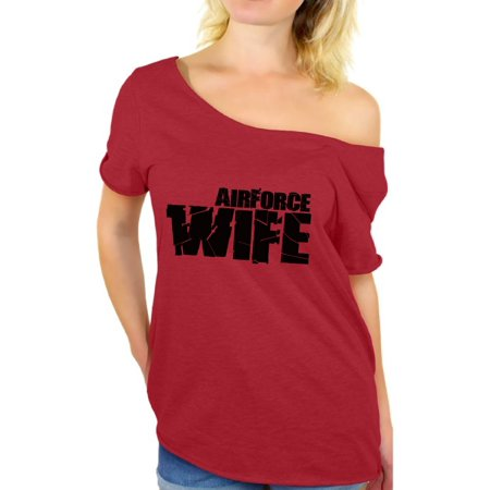 Air Force Wife Womens T-shirt (Awkward Styles Airforce Wife Shirt Airforce Wife Off the Shoulder T Shirt Valentine's Day Gift Proud Airforce Wife Valentine Shirts for Women Airforce Veteran Wife Tshirt Women's Airforce)