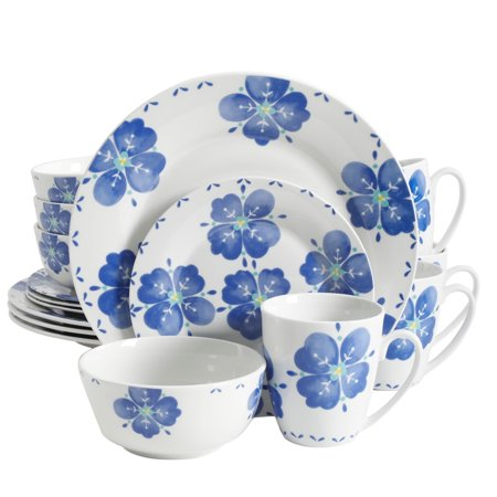 Gibson Home Classic Riviera Decorated Fine Ceramic Dinnerware, Set of 16