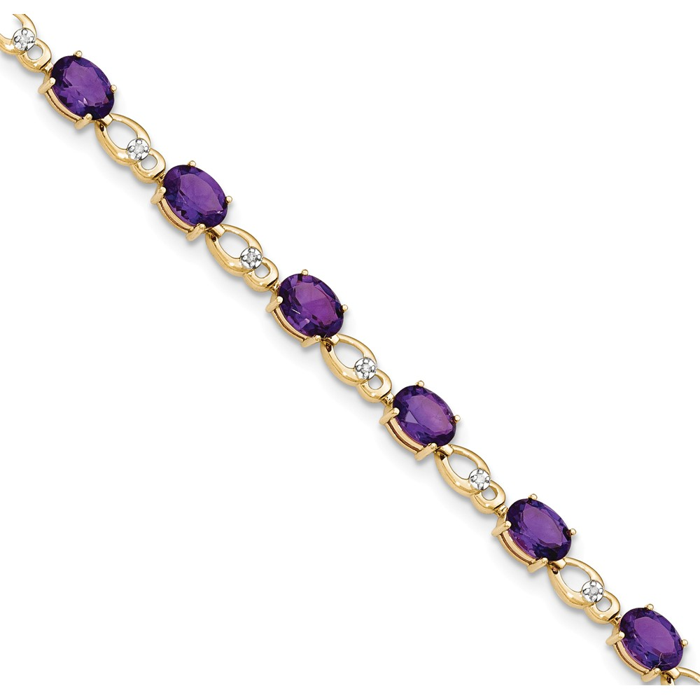 "14K Yellow Gold (0.05cttw) Diamond and Purple Amethyst Bracelet -7"" by"