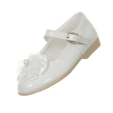 Rain Kids Girls White Patent Floral Stud High Top Dress Shoes 11-13 Kids ()