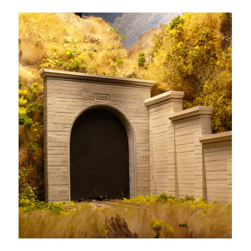 HO Single Concrete Tunnel Portal Multi-Colored