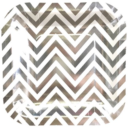 Just Artifacts Square Party Paper Plates (7.25in 12pcs) Metallic Gold Chevron