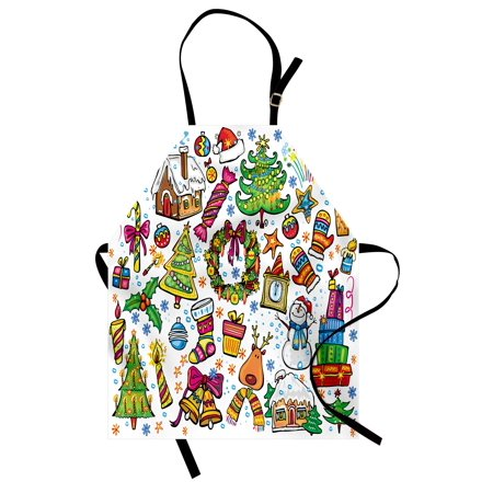 Christmas Apron Cute Xmas Elements with Candies Snowman Fir Sweets Celebration Kids Nursery Theme, Unisex Kitchen Bib Apron with Adjustable Neck for Cooking Baking Gardening, Multicolor, by Ambesonne (Cute Candy)