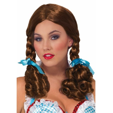 Farm Girl Womens Adult Wizard Of Oz Brown Braided Dorothy Costume Wig (Dorothy Oz Costume Adults)