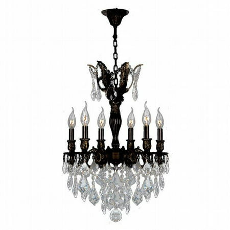 06 Flemish Finish - Versailles Collection 6 Light Flemish Brass Finish with Clear Crystal Chandelier