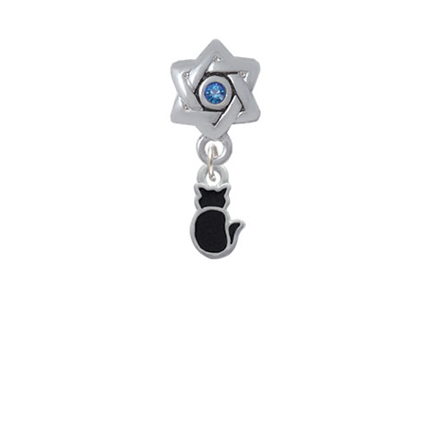 Small 2-D Black Cat Back - Star of David with Blue Crystal Charm Bead