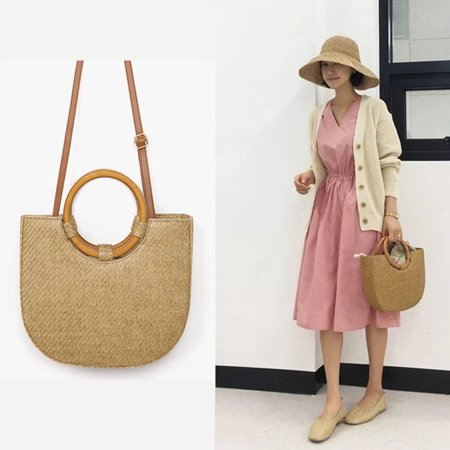 Straw Half Round Handbag Beach Messenger Tote Bag Basket Handbag Shoulder