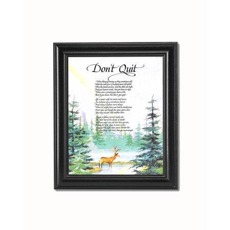 Don't Quit Motivational Poem Deer in Forest Black Framed 8x10 Art Print