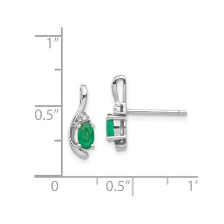 2/5 Carat (ctw) Natural Green Emerald Earrings in 14K White Gold - image 1 de 3