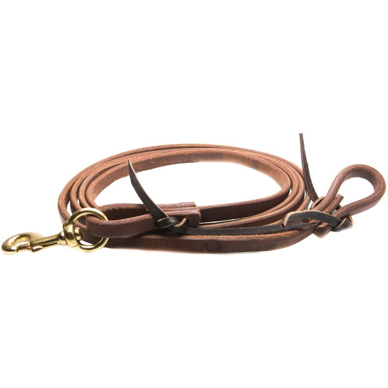 NRS  Tack 8 ft Oiled Harness Leather Flat Roping Reins