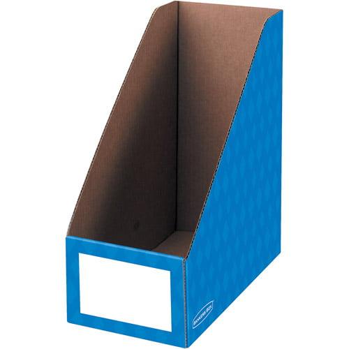 """Fellowes Banker's Box 6"""" Magazine File Holder, Blue, 3pk"""