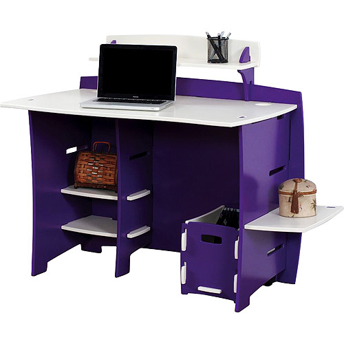 No Tools Assembly - Desk, Purple and White