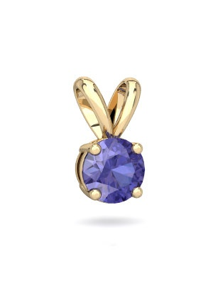 Tanzanite Solitaire Pendant in 14K Yellow Gold by