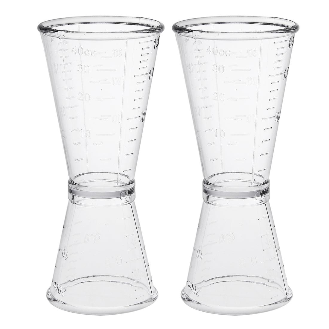 2 Pcs Double Clear Plastic Shot Glasses Drink Spirit Measure Cup by Unique-Bargains