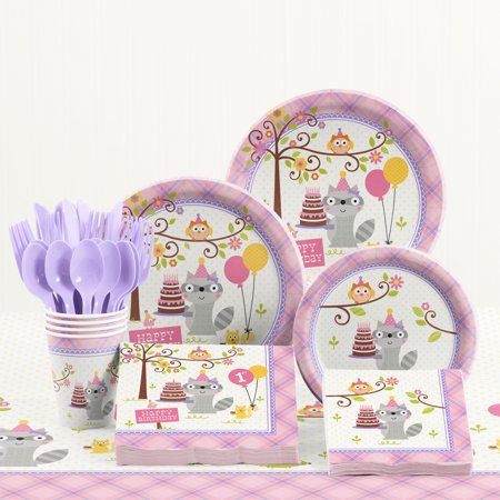 Happi Woodland Girl 1st Birthday Party Supplies Kit - First Birthday Party Ideas Girl