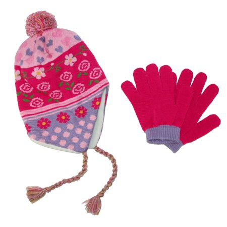 Girls' 3-6X Peruvian Hat and Glove Set (Girls Elite Glove)