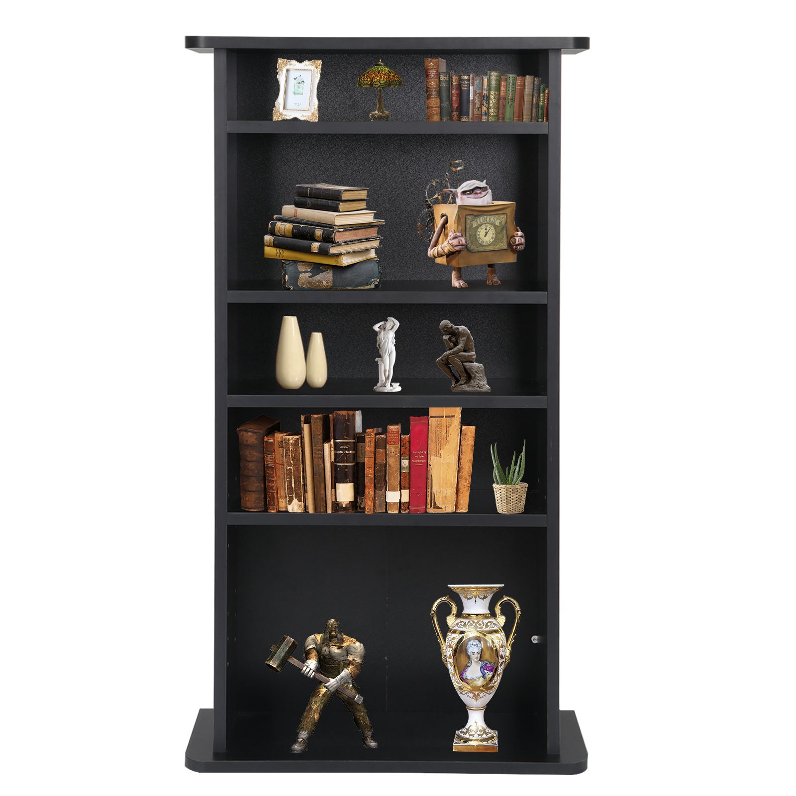 "Zeny Multimedia Cabinet CD/ DVD Media Storage Cabinet Shelf Organizer Stand, 7"" Depth, Flat Black Finish (Holds 132 BluRays, 108 DVDs, or 240 CDs)"