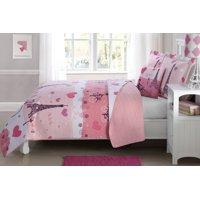Fancy Linen 4pc Full Size Reversible Bedspread Paris Pink White New