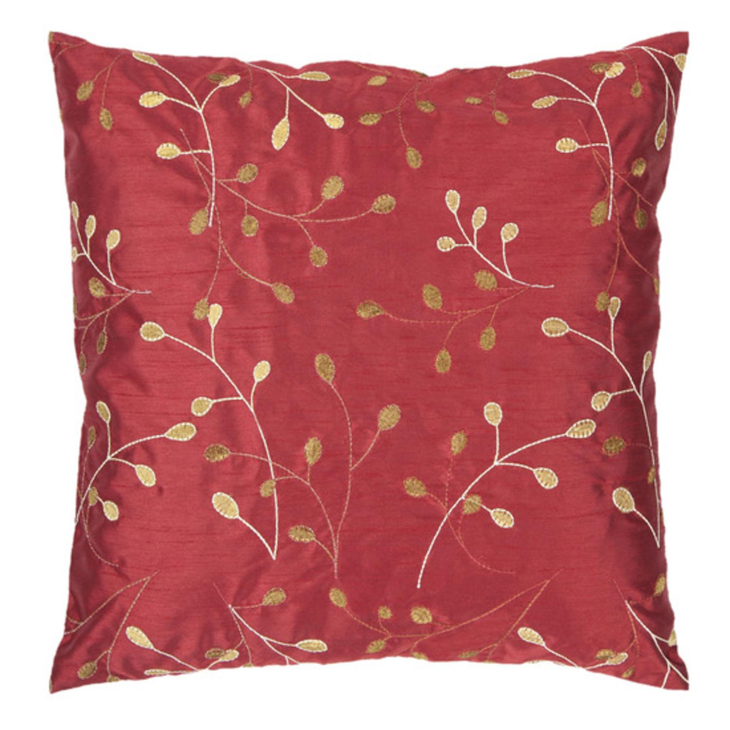 """18"""" Venetian Red and Cumin Shiny Leaf Decorative Down Throw Pillow"""
