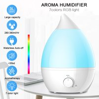 Ultrasonic Humidifier,MEILING 3L Cool Mist Aroma Humidifier with 7 Color LED Changing and 360° Nozzle for Home Room Baby