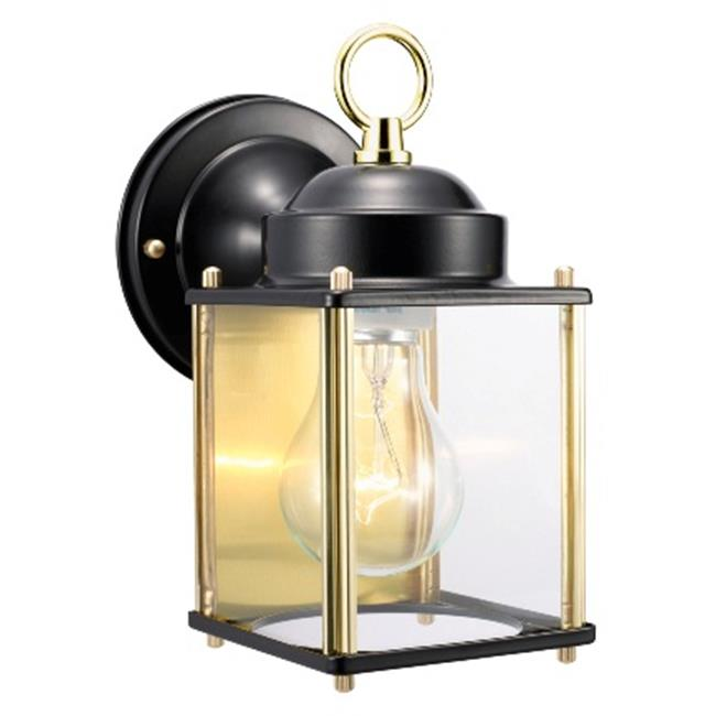 Coach Outdoor Downlight, 4.5 x 8 in. Black and Polished Brass Finish