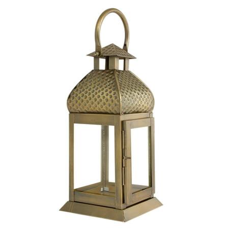 Metal Brass Finish Large Lantern Candle Holder - Pillar Candle Holder ()