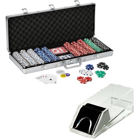 Texas Hold'em Poker Chip Set and Acrylic Card Shoe Bundle by Fat Cat