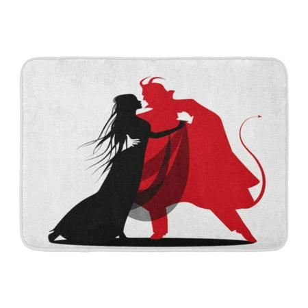 KDAGR Red Witch Silhouette of Romantic Devil Dancing Lady Halloween Dance Autumn Bats Doormat Floor Rug Bath Mat 23.6x15.7 inch