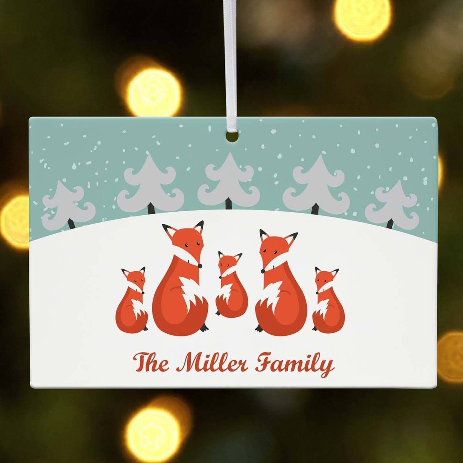 Personalized Fox Family in Snow Christmas Ornament