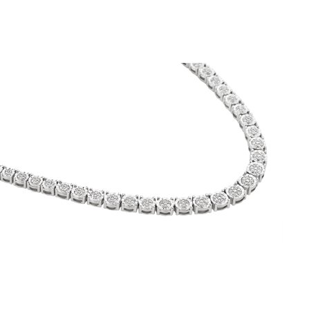 White Topaz Diamond Necklace - 1/3 Carat T.W Diamond Sterling Silver Classic Necklace