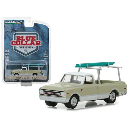 1970 Chevrolet C-10 Pickup Truck Cream w/ Ladder Rack Blue Collar Collection Series 4 1/64 Diecast Model by Greenlight