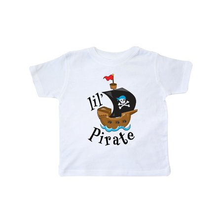 Lil' Pirate pirate ship, blue bandana Toddler T-Shirt - Baby Pirate Shirt
