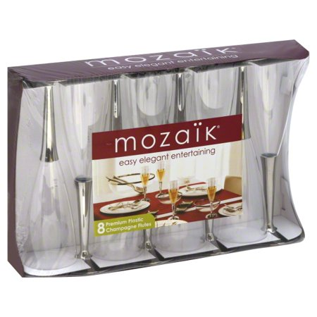 Mozaik Premium Champagne Flutes w/ Silver Base, 8 Pack ()