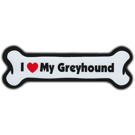 Dog Bone Magnet: I Love My Greyhound | Dogs Doggy | Car Automobile | Grey (Greyhound Dog Magnet)