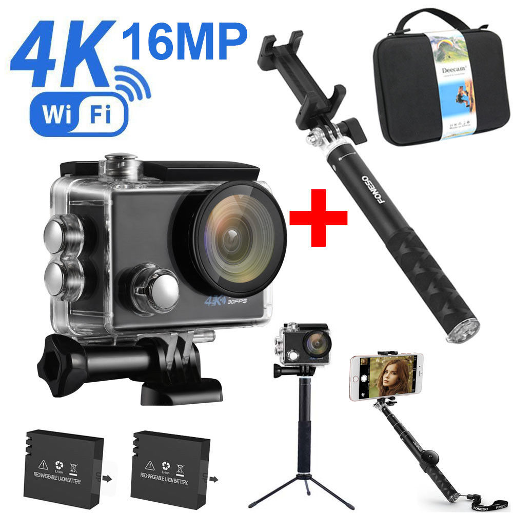 4K Ultra HD WIFI Waterproof Sports Action Camera Kits+Ext...