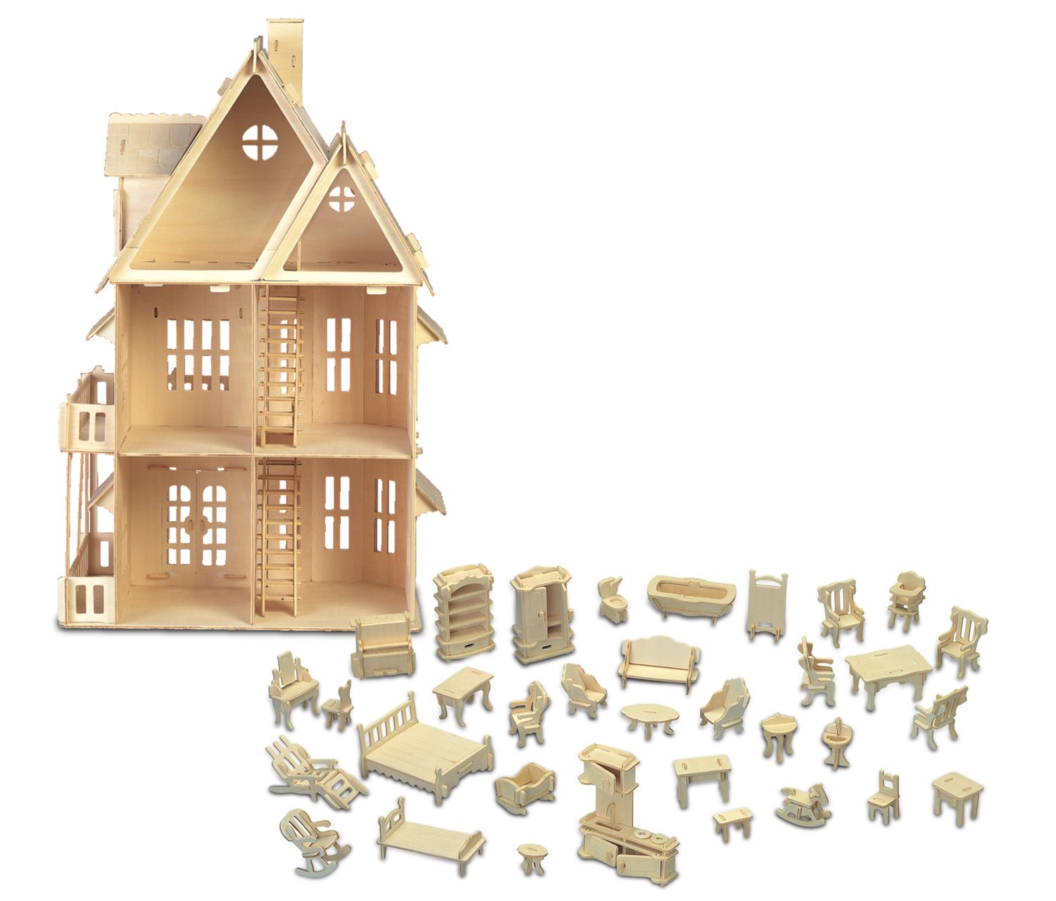 Puzzled Furniture Set and Gothic House Wooden 3D Puzzle Construction Kit by Puzzled Inc