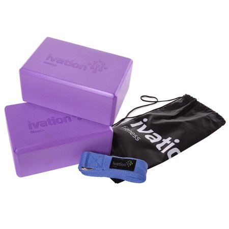 Ivation Large Yoga Blocks & 8-Foot Yoga Strap Combo Pack - Safe, Durable Yoga Props Perfect for all Yoga Practices & Home Workouts - Starter Guide & Carrying Case Included - Purple