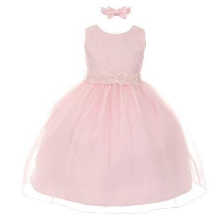 Rain Kids Little Girls Pink Floral Trim Organza Overlay Flower Girl Dress - Pink Little Girl Dresses