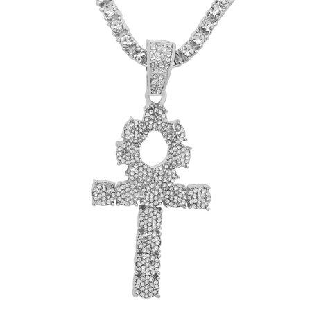 14K White Gold Plated Iced Out Hip Hop Bling Symbol Of Life Ankh Cross Pendant 1 Row Stones Tennis Chain 18