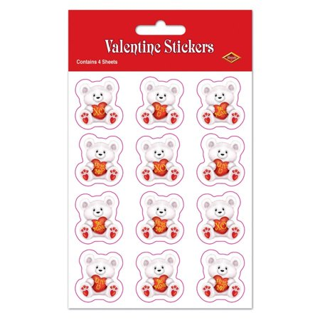 Club Pack of 48 White Valentine Bear Message Decorative Sticker Sheets 7.5