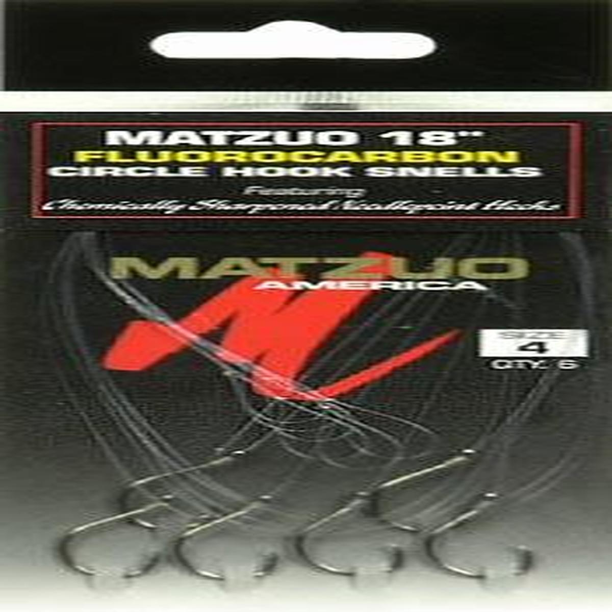 "MATZUO 18/"" FLUOROCARBON CIRCLE HOOK SNELLS 4 PACKS SIZE #2"
