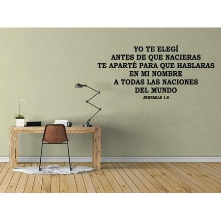 Vinilo Decorativo Para Pared Yo Te Elegí Antes De Que Nacieras Jeremías 1:5 SQ36