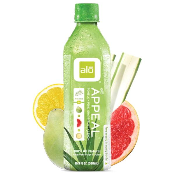 Alo Appeal Pomelo Lemon Pink Grapefruit Aloe Vera Beverage 16.9 oz Plastic Bottles Pack of... by