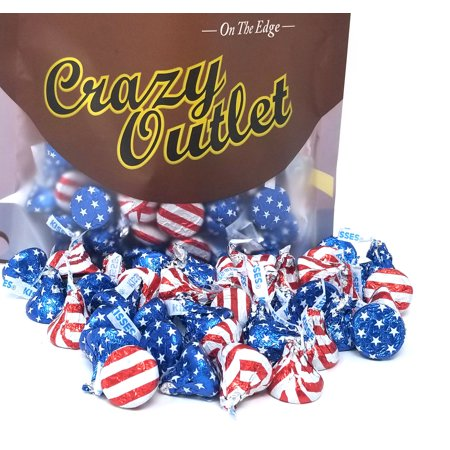 Chocolate Flavored Foil (Hershey's Kisses , Milk Chocolate, USA Flag Foiled (Pack of 2 Pounds))