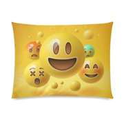 ZKGK Cute Yellow Smiley Emoji Emoticon Face Pillowcase Standard Size 20 x 30 Inches Two Side,Yellow Smiley Emoticon Emojis Pillow Case Cover Set Pet Shams Decorative for Bedroom