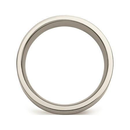 JbSP- Titanium Sterling Silver Inlay Flat 8mm Brushed Band - image 5 de 6