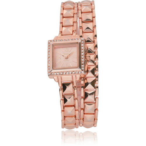 Brinley Co. Women's Rhinestone-Accented Link Wrap Watch