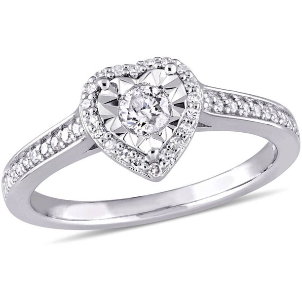 1/3 Carat T.W. Diamond Sterling Silver Heart Halo Engagement Ring