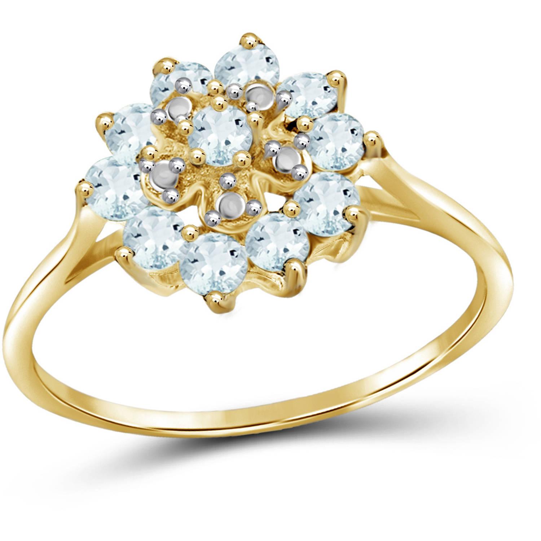 JewelersClub 0.96 Carat T.G.W. Aquamarine Gemstone and 1/20 Carat T.W. White Diamond Gold Over Silver Flower Ring