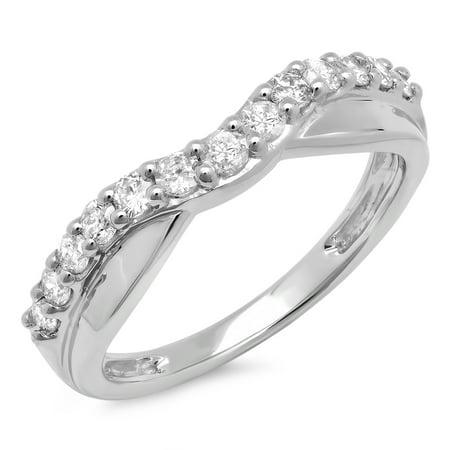 0.55 Carat (ctw) 18K White Gold Round Cut Diamond Ladies Anniversary Wedding Guard Contour Band 1/2 CT 18k Gold Ladys Wedding Band